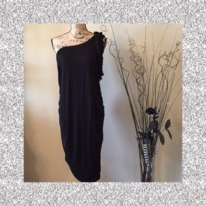🆕🎁 Sexy Ruched One Shoulder Black Dress NWT